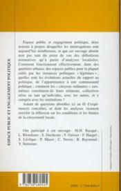 Espace public et engagement politique ; enjeux et logiques de la citoyenneté locale - 4ème de couverture - Format classique