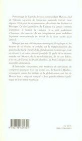 Marcos La Dignite Rebelle - 4ème de couverture - Format classique