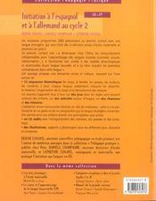 Initiation à l'espagnol et à l'allemand au cycle 2 ; GS/CP - 4ème de couverture - Format classique
