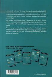 Les tests d'entrée en 1ère année d'iufm (3e édition mise à jour) - 4ème de couverture - Format classique