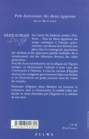 Petit dictionnaire des dieux égyptiens - 4ème de couverture - Format classique