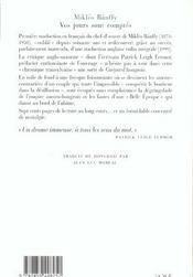 Vos Jours Sont Comptes La Trilogie De Transylvanie T1 - 4ème de couverture - Format classique