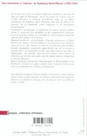 Une révolution à l'oeuvre ; le faubourg Saint-Marcel, 1789-1794 - 4ème de couverture - Format classique