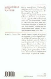 Le Monotheisme Est Un Humanisme - 4ème de couverture - Format classique