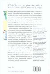 L'hôpital en restructuration ; regards croisés sur la France et la Québec - 4ème de couverture - Format classique