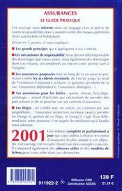Le Guide Des Assurances 2001 - 4ème de couverture - Format classique