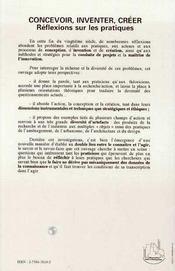 Concevoir, Inventer, Creer ; Reflexions Sur Les Pratiques - 4ème de couverture - Format classique