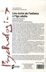 Lire-écrire de l'enfance à l'âge adulte - 4ème de couverture - Format classique