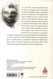 La querelle de la statue de baudelaire, août-décembre 1892 - 4ème de couverture - Format classique