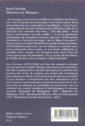 Histoires De Masques - 4ème de couverture - Format classique