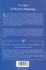 La Chevalerie Maconnique - 4ème de couverture - Format classique