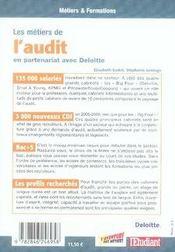 Les métiers de l'audit - 4ème de couverture - Format classique