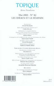 Topique N 82 Les Ideaux Et Le Feminin - 4ème de couverture - Format classique