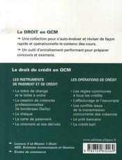 Le droit du crédit en qcm - 4ème de couverture - Format classique
