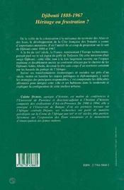 Djibouti 1888-1967 ; héritage ou frustration ? - 4ème de couverture - Format classique