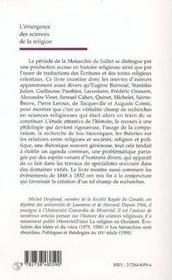 L'émergence des sciences de la religion ; la monarchie de juillet ; un moment fondateur - 4ème de couverture - Format classique