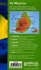 Geoguide ; Ile Maurice ; Port Louis, Grande Baie, Flie En Flac, Curepipe - 4ème de couverture - Format classique