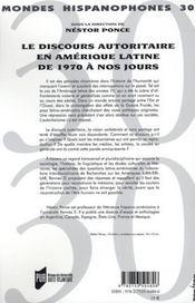 Discours autoritaire en amerique latine de 1970 a nos jours - 4ème de couverture - Format classique