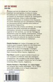 Art en théorie, 1900-1990 - 4ème de couverture - Format classique