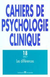 Cahiers De Psychologie Clinique N.18 ; Les Différences - Intérieur - Format classique