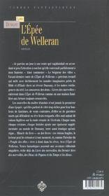 L'épée de Welleran - 4ème de couverture - Format classique