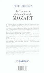 Le testament philosophique de mozart - 4ème de couverture - Format classique