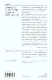 Comment La Matiere Devient Conscience - 4ème de couverture - Format classique