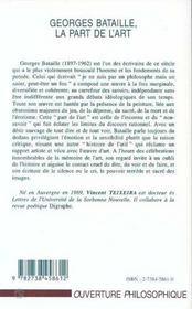 Georges Bataille, La Part De L'Art ; La Peinture Du Non-Savoir - 4ème de couverture - Format classique