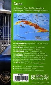 Cuba ; La Havane, Piñar del Rio, Varadero, Cienfuegos, Trinidad - 4ème de couverture - Format classique