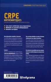 Crpe Mathematiques - 4ème de couverture - Format classique