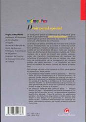 Memento Droit Penal Special - 4ème de couverture - Format classique