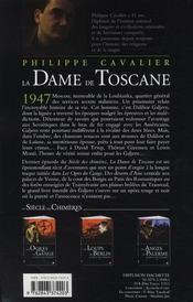 Le siècle des chimères t.4 ; la dame de Toscane - 4ème de couverture - Format classique