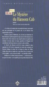 Mystere du hansom cab - 4ème de couverture - Format classique