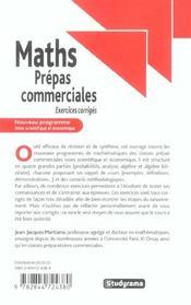 Mathematiques Prepas Commerciales ; Nouveau Programme; 6 - 4ème de couverture - Format classique