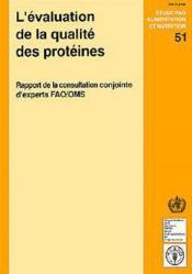L'evaluation de la qualite des proteines ; rapport de la consultation conjointe d'experts fao-oms - Couverture - Format classique