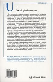 Sociologie des oeuvres ; de la production à l'interprétation - 4ème de couverture - Format classique