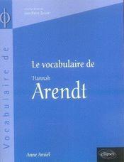 Le vocabulaire d'hannah arendt - Intérieur - Format classique