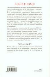 Libéralisme - 4ème de couverture - Format classique