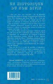 Un historique du nom divin ; un nom encens - 4ème de couverture - Format classique
