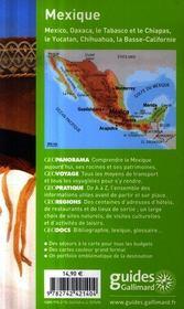 Mexique ; Mexico, Oaxaca, le Tabasco et le Chiapas, le Yùcatan - 4ème de couverture - Format classique