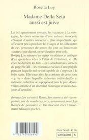 Madame Della Seta Aussi Est Juive - 4ème de couverture - Format classique