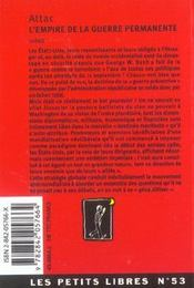L'Empire De La Guerre Permanente - 4ème de couverture - Format classique