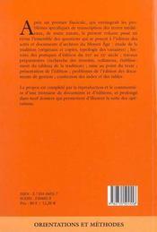 Conseils pour l'édition des textes médiévaux - 4ème de couverture - Format classique