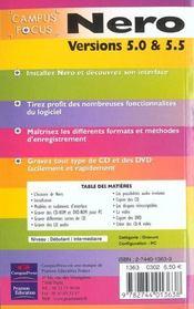 Nero. Versions 5.0 & 5.5 - 4ème de couverture - Format classique