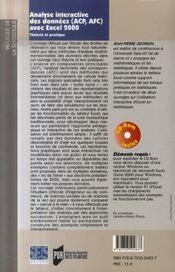 Analyse interactive des données avec excel 2000 ; théorie et pratique (2e édition) - 4ème de couverture - Format classique