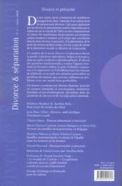 Divorce et precarite - 4ème de couverture - Format classique