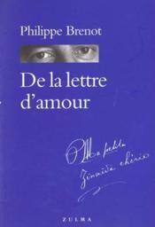 De La Lettre D Amour - Couverture - Format classique