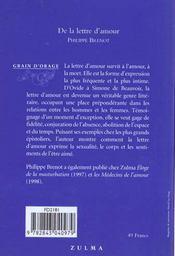 De La Lettre D Amour - 4ème de couverture - Format classique