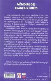 Mémoire des français libres - 4ème de couverture - Format classique