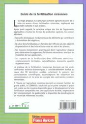 Guide de la fertilisation raisonnee - 4ème de couverture - Format classique